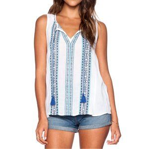Sanctuary Embroidered Tie Front Tank